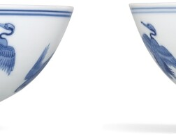 3634. a fine pair of blue and white 'crane' bowls marks and period of yongzheng |