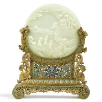 3625. a magnificent and extremely rare white jade double-sided circular 'boys' screen and gilt-bronze and champleve enamel stand qing dynasty, qianlong period |
