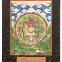 39. 清乾隆 約 1740至1763 年 藏傳金剛甘露二十一尊曼荼羅唐卡 設色布本 鏡框