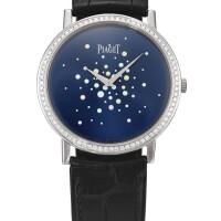 2048. 伯爵 | p10244型號「altiplano」白金鑲鑽石腕錶,錶殼編號983465,年份約2009。