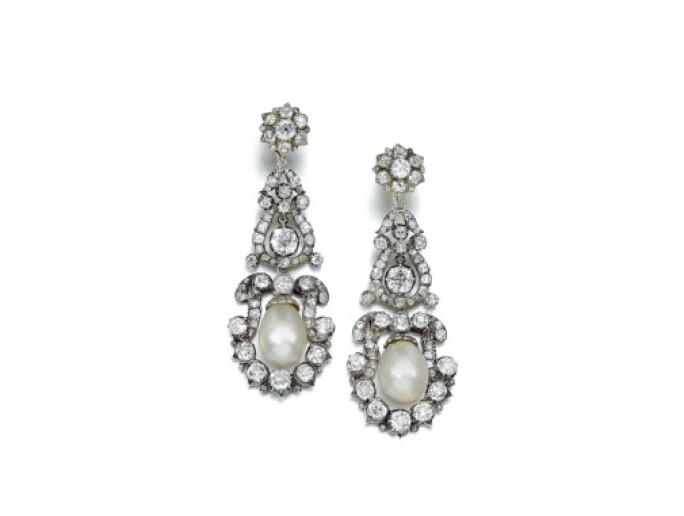 Pair of natural pearl and diamond earrings, first half 19th century, composite. LOT SOLD. £112,500