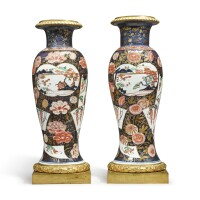1010. a pair of japanese imari vases mounted in ormolu the porcelain 18th century