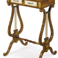 104. a regency ormolu and english porcelain-mounted tulipwood occasional table circa 1820