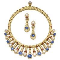 1616. 寶石配養殖珍珠及鑽石項鏈及耳環套裝, 寶格麗(bulgari)