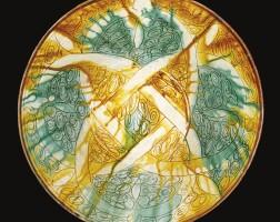 162. a rare signed pottery sgraffiato dish, persia, 10th century