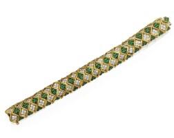 20. 18 karat gold, diamond and emerald bracelet