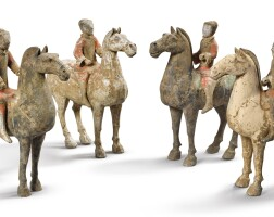1771. a set of four painted pottery figures of equestrians han dynasty  