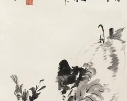 518. 張大千 1899-1983   擬徐渭筆意葡菜瓜菱