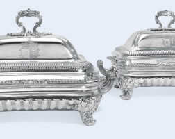 142. a pair of george iv silver entrée dishes and coverson two-handled hot-water stands, paul storr, london, 1821 |