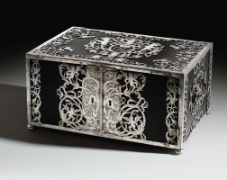 7. a probably german east-indian ebony and maple wood casket with silver mounts, 17th century | a probably german east-indian ebony and maple wood casket with silver mounts, 17th century