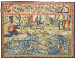 1042. a flemish literary pastoral tapestry fragment, bruges, from 'le cortège nuptial', the story of gombaut et macée, third quarter 17th century