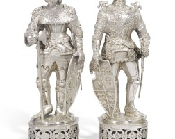 701. two german silver model figures of mediaeval knights in armour, probably ludwig neresheimer & co., hanau, importer's mark of thomas cook & son ltd., london, 1928