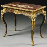 53. an italian pietra dura top from the florentine grand ducal workshops, after designs by antonio cioci, 1793 on a gilt-bronze mounted boulle marquetry table by anton staudinger, vienna, circa 1850