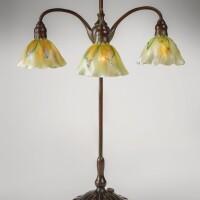207. tiffany studios | adjustable three-light table lamp