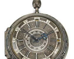 15. sebastian mahl, fridberg   a large silver repousse quarter striking and quarter repeating coach watch with indication for date and monthcirca 1750