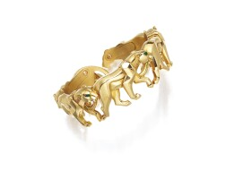 9009. gold and emerald bangle, 'panthère', cartier