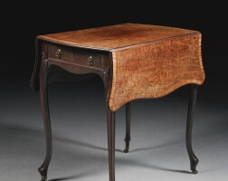 47. a george iii mahogany and satinwood crossbanded pembroke table circa 1775, by thomas chippendale