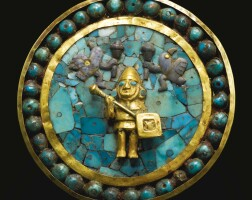 7. moche gold and turquoise inlay ear ornament ca. a.d. 200-500