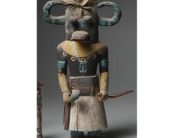 10. a hopi polychrome wood kachina doll, depicting ahote