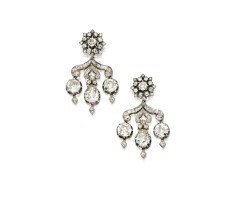 50. silver, gold and diamond earrings
