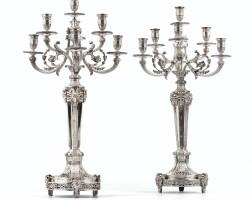 15. paire de grands chandeliers à sept lumières en argent de style louis xvi, attribués à odiot, paris, vers 1880