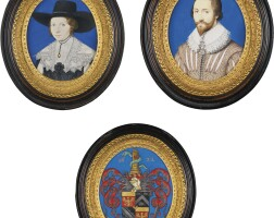 10. edward norgate | portrait of john harrison, junior (1598-1665), circa 1622; his wife mary harrison, née buckenham (circa 1610-after 1682), circa 1630; and the coat of arms of the harrison family, 1622