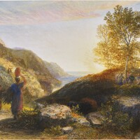 423. samuel palmer, r.w.s | the end of the day - sunset