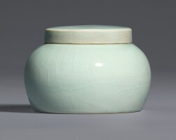 105. an exceptionally rare 'wintergreen'-glazed jar and cover ming dynasty, yongle period |