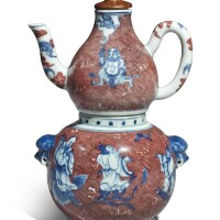 609. an underglaze-blue and copper-red 'immortals' wine ewer, warmer and a cover qing dynasty,qianlong period |