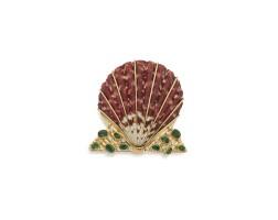 526. gold, shell, tsavorite garnet and diamond clip-brooch, verdura