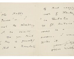 """312. wilde, oscar. autograph fair copy of a variation of his poem """"symphony in yellow"""". 1891"""