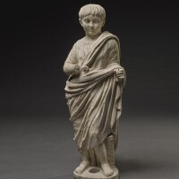 """40. a roman marble portrait figure of a boy, known as the """"young nero"""", mid 1st century a.d.   a roman marble portrait figure of a boy, known as the """"young nero"""""""
