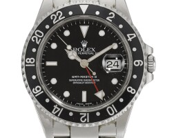 6. rolex | gmt master ii, reference 16710 stainless steel dual-time wristwatch with date and bracelet circa 2000