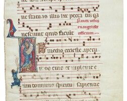 1. st john the evangelist venerated by a kneeling figure, historiated initial on a leaf from a gradual, in latin [italy, umbria or southern italy, c.1270–80]
