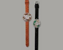 1628. pair of multi-coloured jadeite and diamond watches