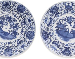 4. a pair of blue and white armorial dishes qing dynasty, kangxi period |