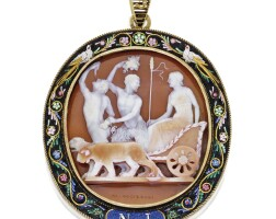 121. silver-gilt, gold, carved shell cameo, micromosaic and seed pearl pendant, nicolo morelli, early 19th century