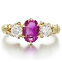 42. pink sapphire and diamond ring