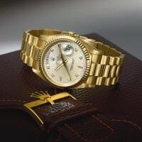 5. 勞力士(rolex) | 18348型號「day-date」黃金鑲鑽石自動上鏈鍊帶腕錶備日期及星期顯示,年份約1985。