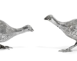 8. a pair of fighting cock pepperettes, e.h. stockwell, london, 1883