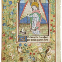 23. st michael weighing souls, miniature on a leaf from a book of hours, in latin [france (châlons?), c.1480]
