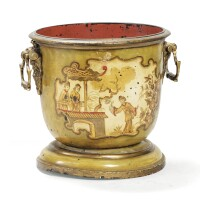 9. a french régence painted metal and varnished bronze cache pot, circa 1720 |