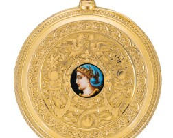 21. a. lange & söhne, glashütte   a very fine pink gold hunting cased keyless lever watch with professor graff engraved decoration and polychome enamel portrait of minerva with original box, numbered certificate, spare glasses and springcirca 1906 no. 45762
