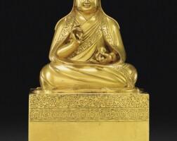 113. 十八世紀 蒙古 鎏金銅聖光明者坐像