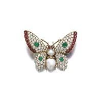 46. gem set and diamond brooch