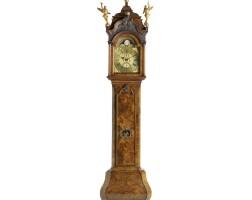 2. a dutch burr walnut striking alarm longcase clock, hubert amsterdam