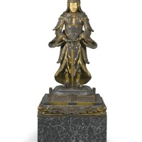11. a japanese gilt-decorated lacquer guardian figure, meiji period, late 19th century