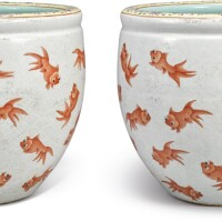 718. a rare pair of famille-rose and iron-red jardinieres qing dynasty, xianfeng period |