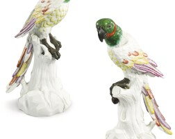304. a pair of meissenporcelain parrots, 19th century |