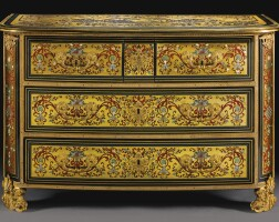 14. a gilt-bronze-mounted ivory,polychrome stained hornand mother-of-pearl inlaid tortoiseshell and brass contre-partie boulle marquetry and ebonycommodeattributed to nicholas sageot (1666-1731), stamped i. dubois, louis xiv, circa 1710, probably restored by jacques dubois around 1750